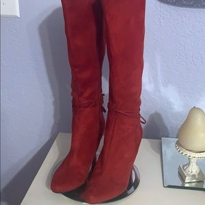 Bright Red Suede Boots